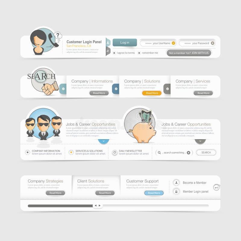Beståndsdelar för navigering för meny för Websitemalldesign med symboler ställde in. royaltyfri illustrationer