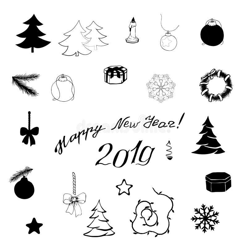 Beståndsdelar för nytt år i svart på en vit bakgrund vektor illustrationer