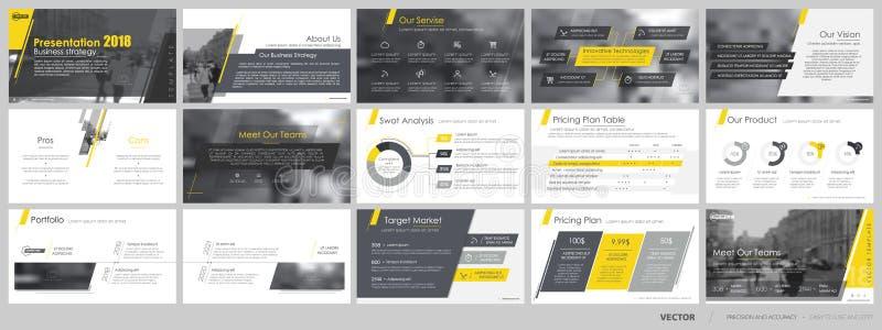 Beståndsdelar för och presentationsmallar vektor illustrationer