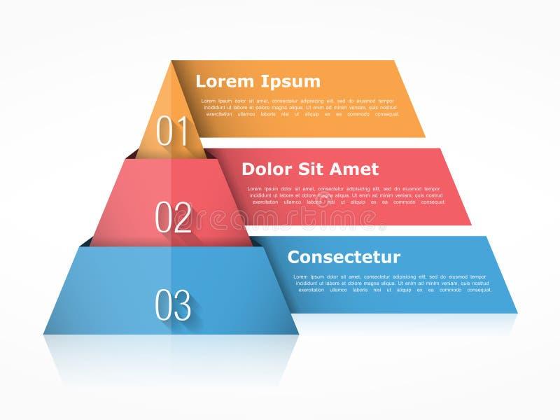Beståndsdelar för pyramiddiagram tre vektor illustrationer