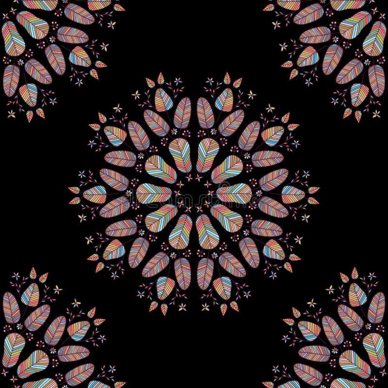 Beståndsdelar för sömlös modell för vektor blom- på svart royaltyfri illustrationer