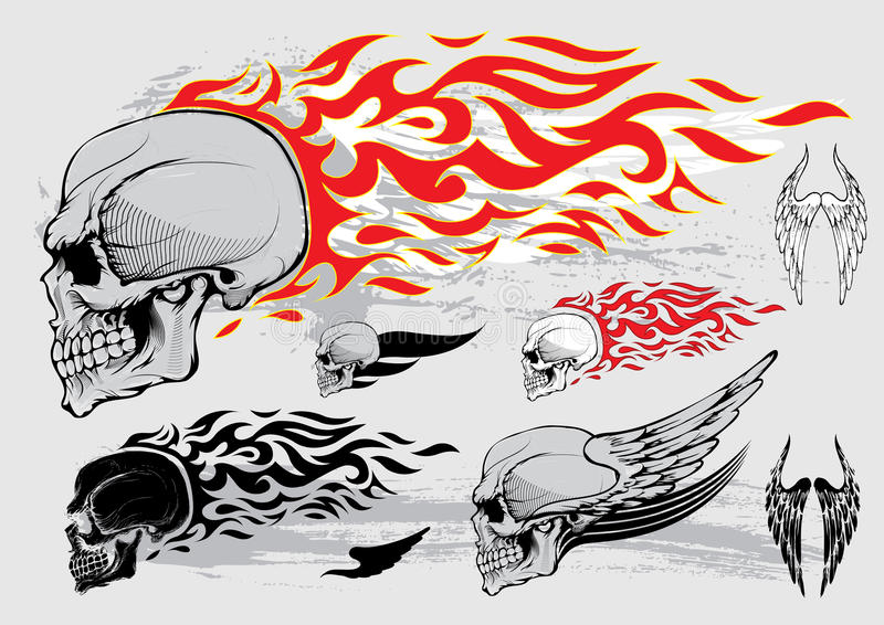Beståndsdelar för skalleprofildesign stock illustrationer