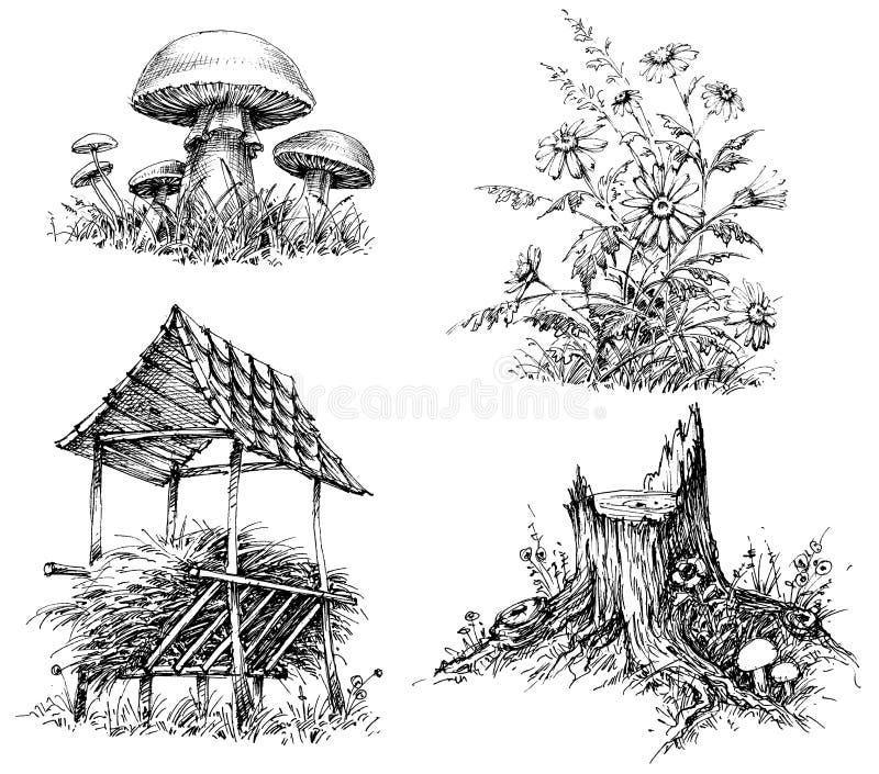 Beståndsdelar för skogklotterdesign stock illustrationer