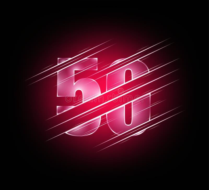 Beståndsdelar för snabb hastighet av lyxigt tecken femtio för exponeringsglasnummer 50 grön mörk signalbakgrund Vektorillustratio vektor illustrationer