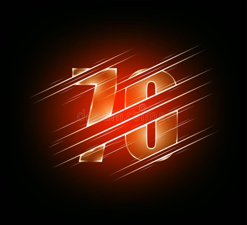 Beståndsdelar för snabb hastighet av lyxigt tecken sjuttio för exponeringsglasnummer 70 röd mörk signalbakgrund Vektorillustratio royaltyfri illustrationer