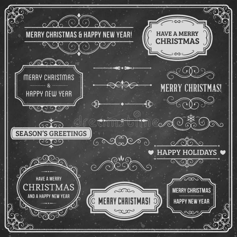 Beståndsdelar för svart tavlajuldesign stock illustrationer
