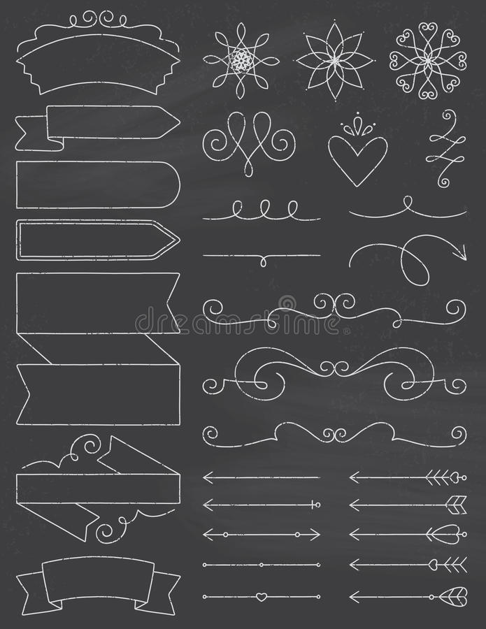 Beståndsdelar för svart tavlaklotterdesign vektor illustrationer