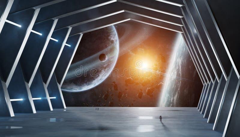 Beståndsdelar för tolkning 3D för enormt korridorrymdskepp avbildar inre av denna royaltyfri illustrationer