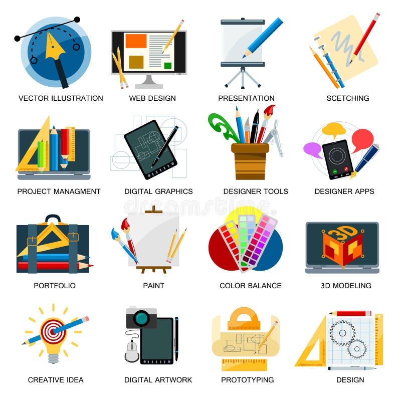 Beståndsdelar för utveckling för design för process för abstrakt begrepp för illustration för vektor för kreativitetsymbolsfantas vektor illustrationer