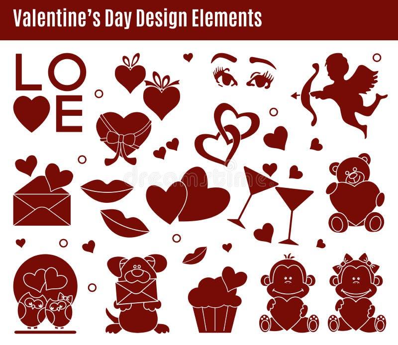 Beståndsdelar för Valentine's dagdesign stock illustrationer