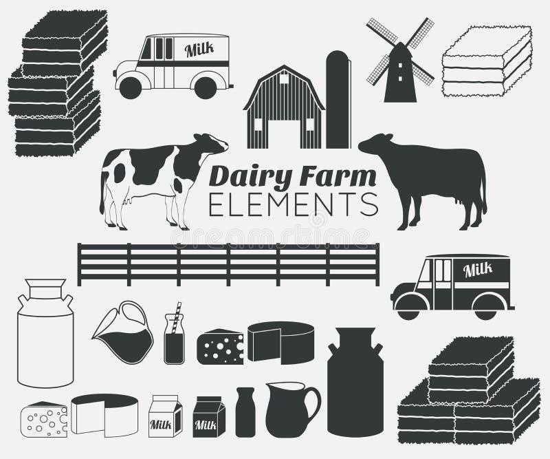 Beståndsdelar för vektor för mejerilantgård, mjölkar symbolsuppsättningen stock illustrationer