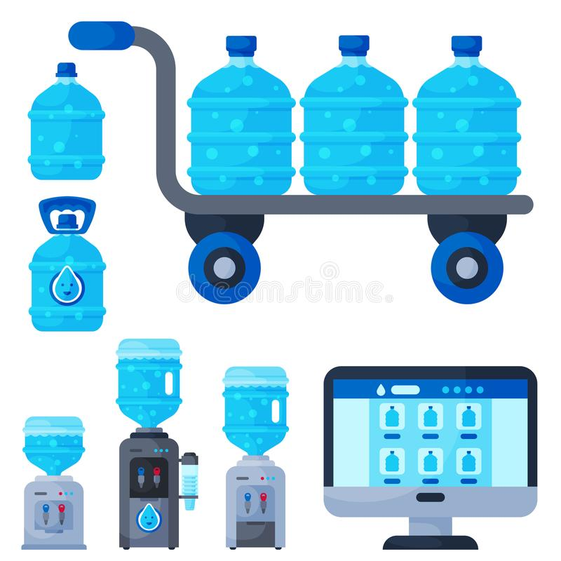 Beståndsdelar för vektor för flaska för vatten för vattenhemsändning olika vektor illustrationer