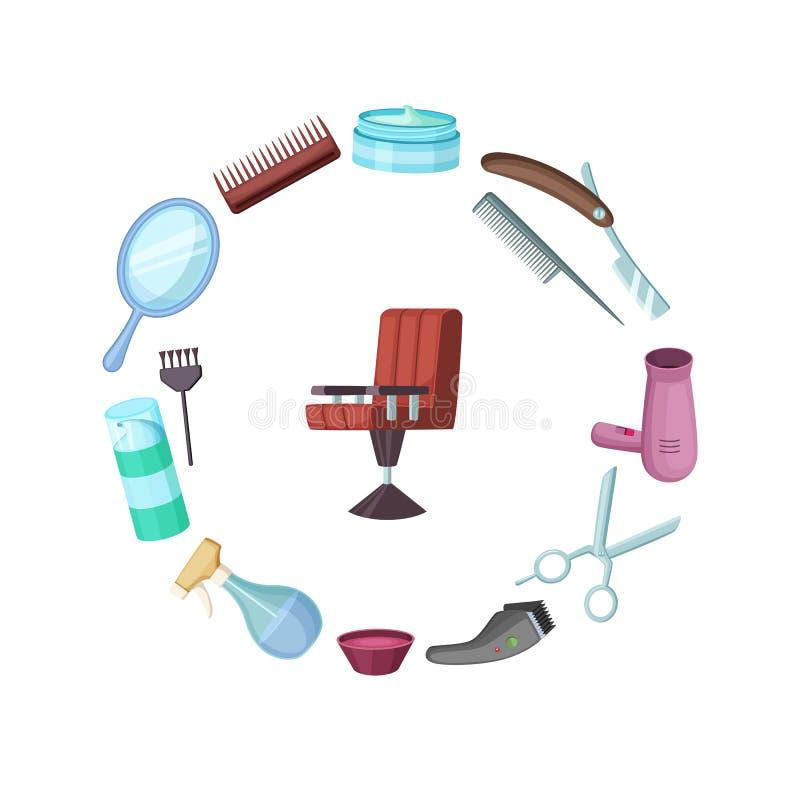 Beståndsdelar för vektorfrisör- eller barberaretecknad film stock illustrationer