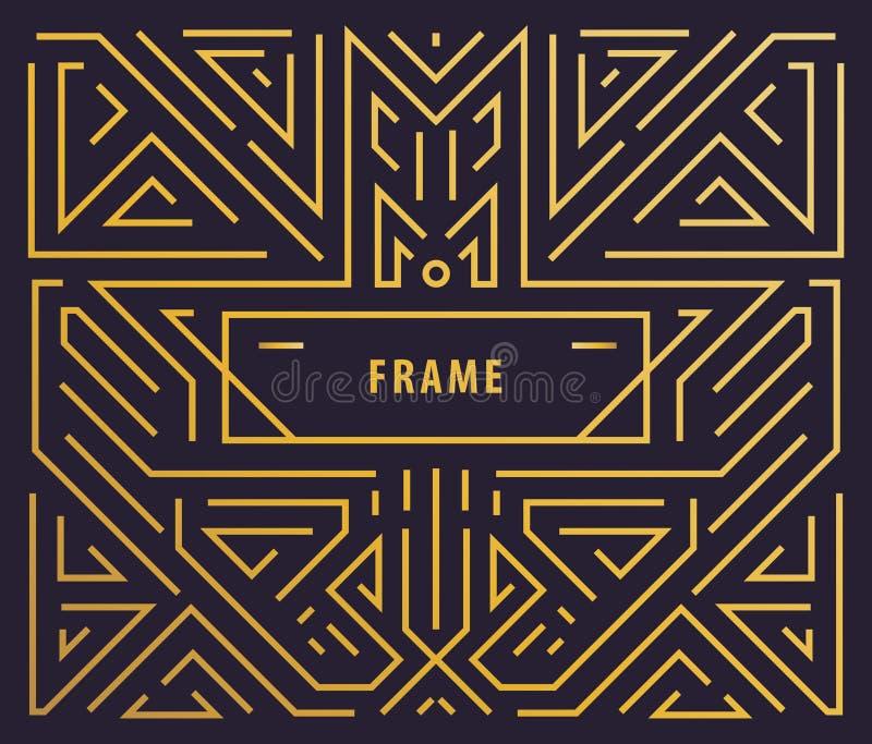 Beståndsdelar för vektormonogramdesign i moderiktig tappning och den mono linjen stil med utrymme för text - abstrakt guld- geome vektor illustrationer