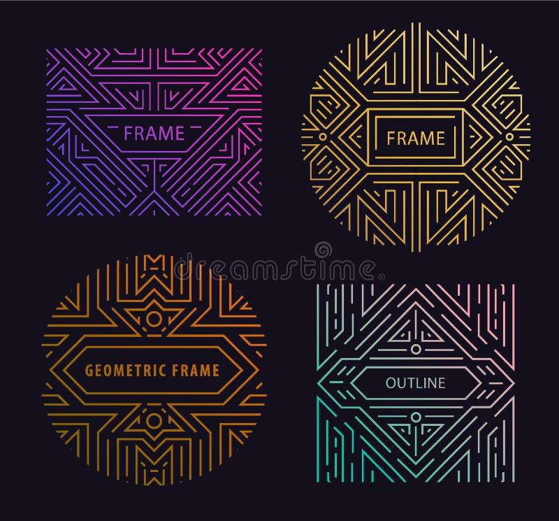 Beståndsdelar för vektormonogramdesign i moderiktig tappning och den mono linjen stil med utrymme för text - abstrakt guld- geome royaltyfri illustrationer