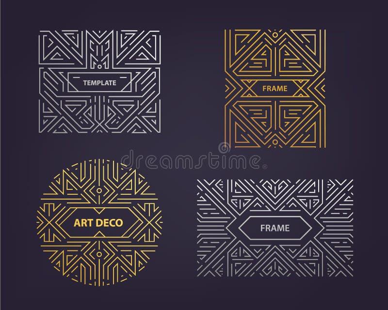 Beståndsdelar för vektormonogramdesign i moderiktig tappning och den mono linjen stil med utrymme för text - guld- abstrakt begre royaltyfri illustrationer