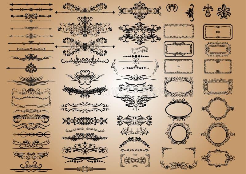Beståndsdelar för vektortappninggarneringar Calligraphic prydnader och ramar för krusidullar retro stildesignsamling royaltyfri illustrationer