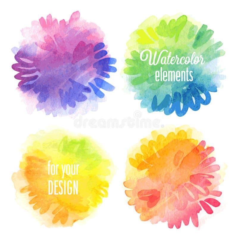 Beståndsdelar för vektorvattenfärgdesign stock illustrationer