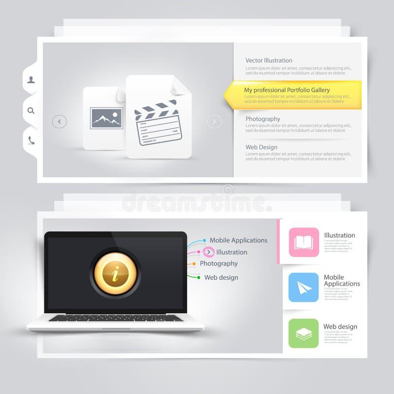 Beståndsdelar för Websitedesigninfographics: Vcard portföljmall med datoren, bildskärmen och symboler stock illustrationer