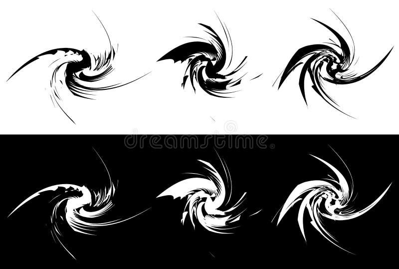 Beståndsdelar med roterande distorsion, spiral effekt Abstrakt geo stock illustrationer