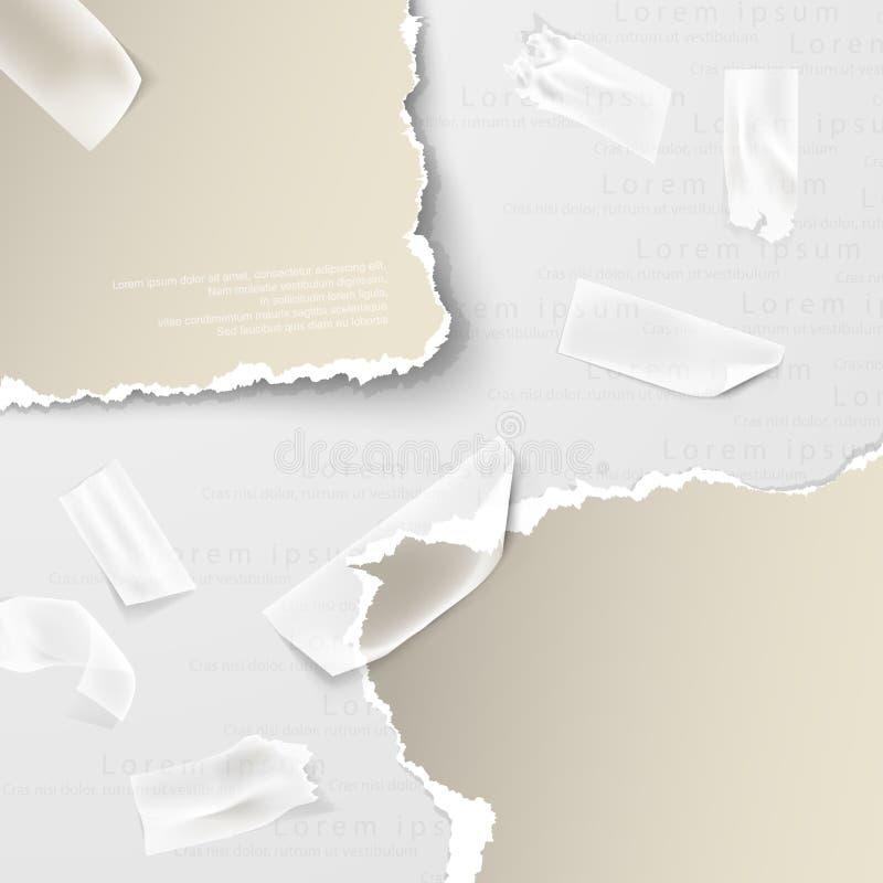 Beståndsdelar sönderrivet papper med genomskinlig tejp royaltyfri illustrationer