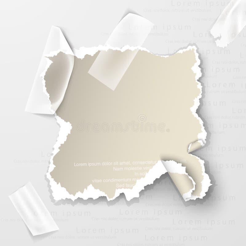 Beståndsdelar sönderrivet papper med genomskinlig tejp stock illustrationer