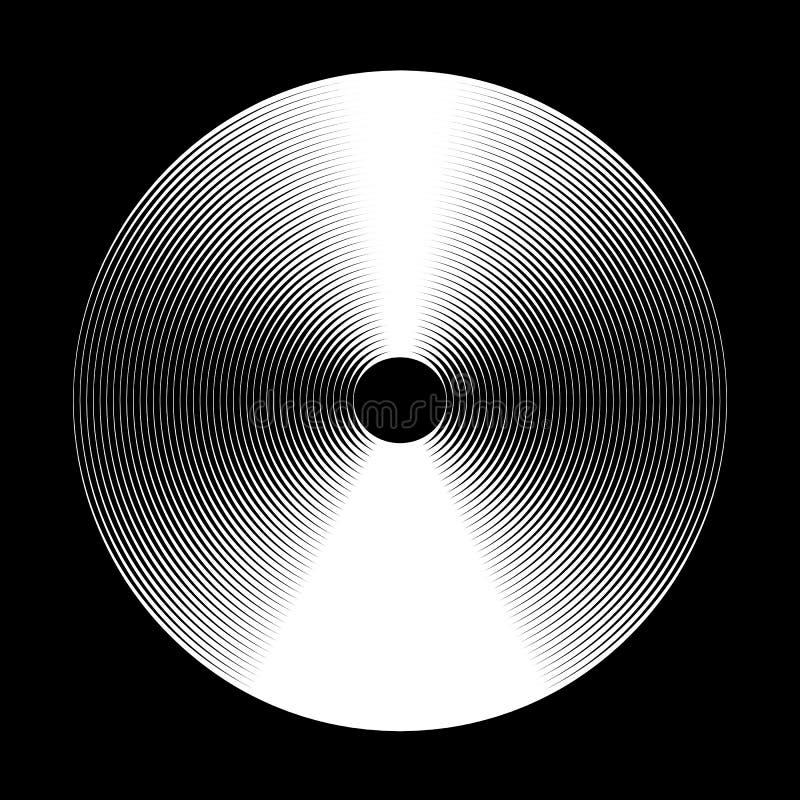Beståndsdelbakgrunder för koncentrisk cirkel abstrakt cirkelmodell Svartvita diagram royaltyfri illustrationer