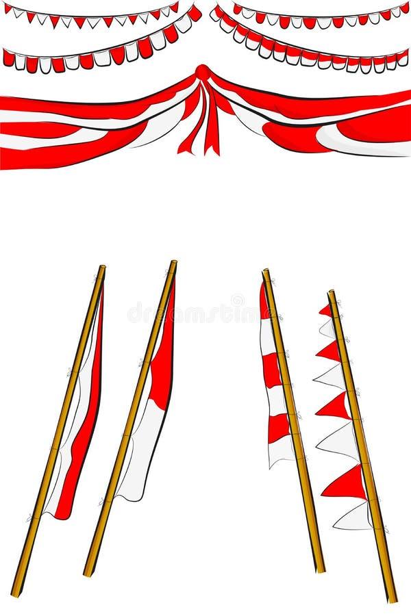 Beståndsdeldesign för Indonesien oberoende dagfestival eller beröm vektor illustrationer