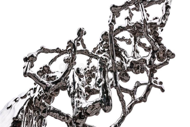 Beståndsdelen av ett abstrakt diagram av krom pläterade stål som simulerar fluiditet och plaskande flytande arkivbilder