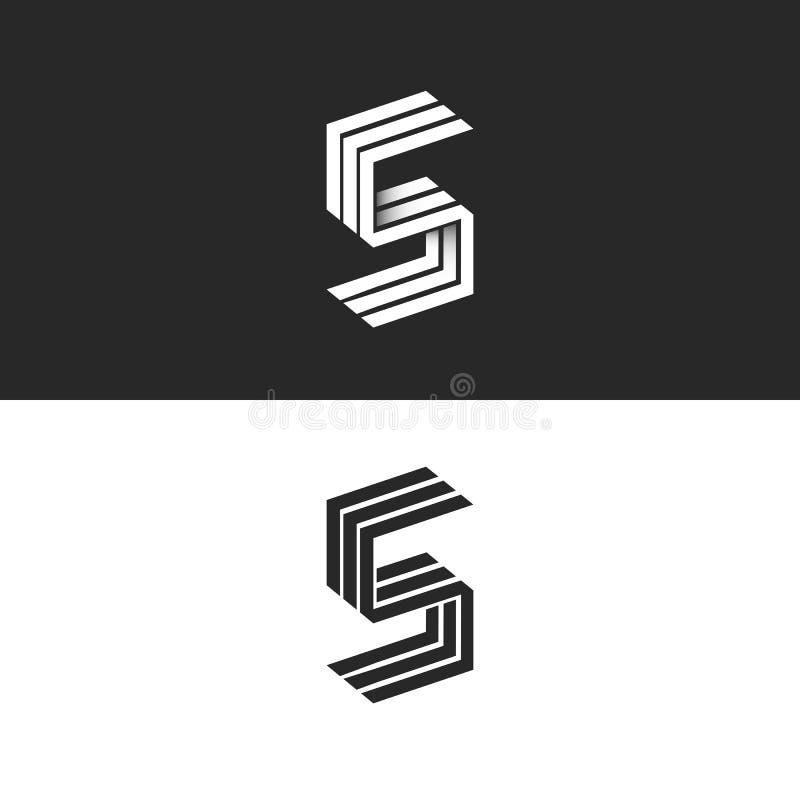 Beståndsdelen för designen för typografi för logoen för bokstav S märker med sina initialer den isometriska svartvita, minimalist stock illustrationer