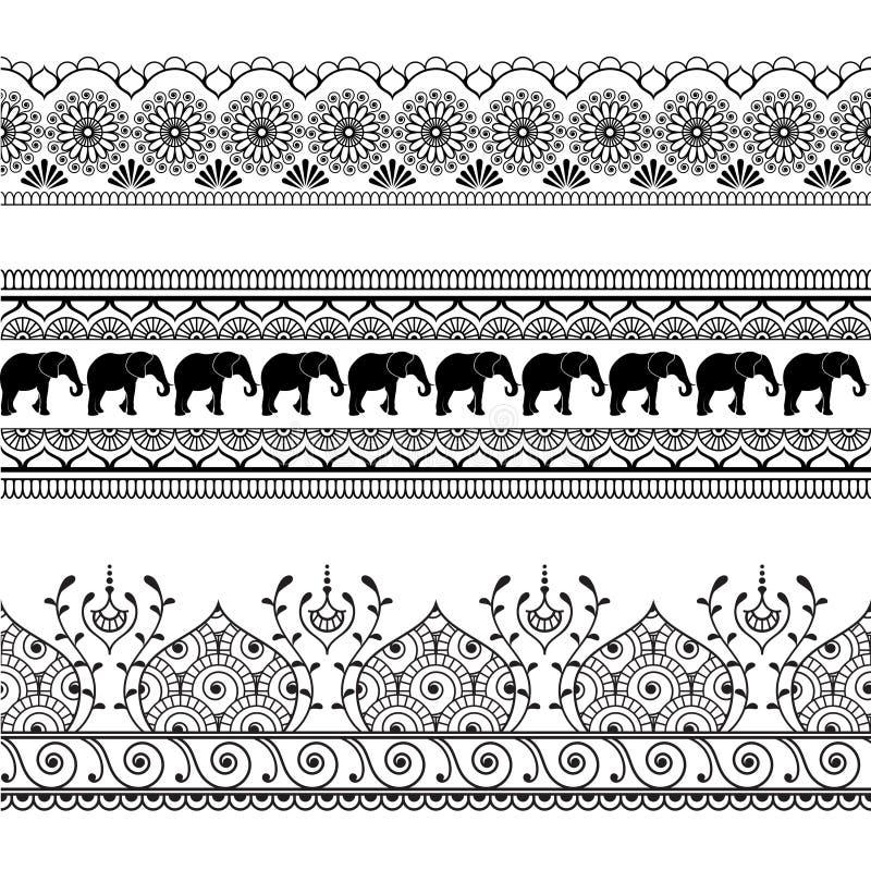 Beståndsdelen för modellen för den Mehndi hennagränsen snör åt den sömlösa med elefanter och den isolerade blommalinjen i indisk  stock illustrationer