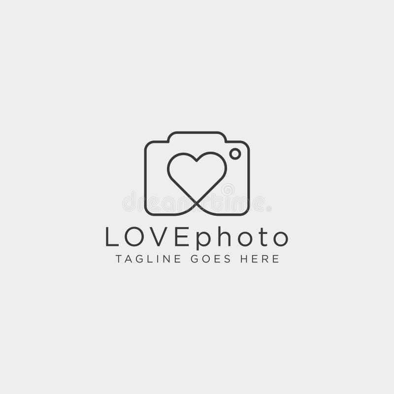 Beståndsdelen för symbolen för illustrationen för vektorn för mallen för förälskelsefotografilogoen isolerade royaltyfri illustrationer