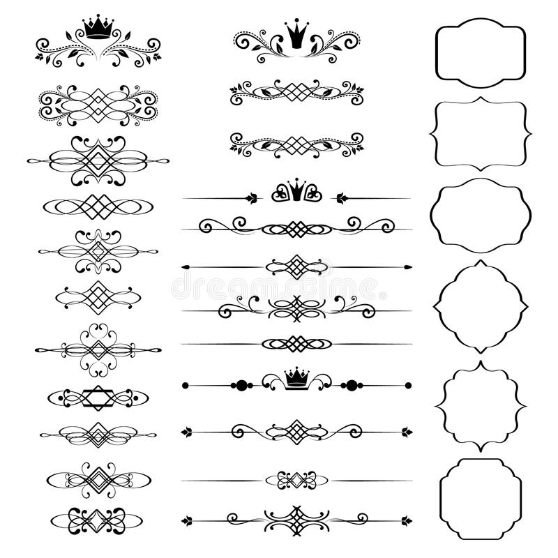 Beståndsdeluppsättning för blom- design, dekorativa tappningramar med kronor vektor illustrationer