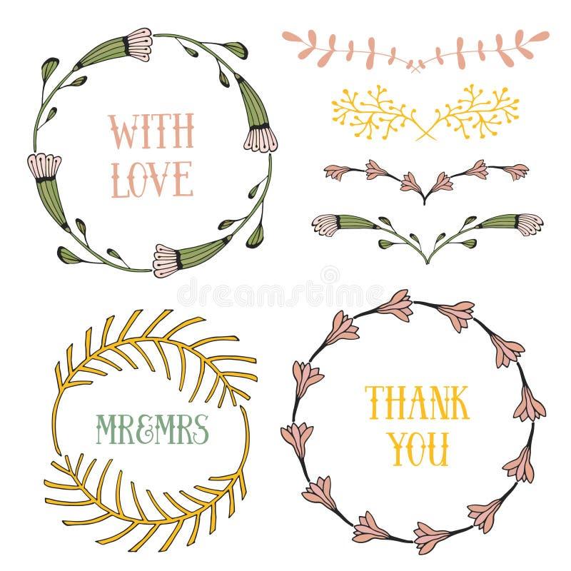 Beståndsdeluppsättning för blom- design Vårramar och gränser Dekorativa beståndsdelar för vektor Kan använda för födelsedagkort o stock illustrationer