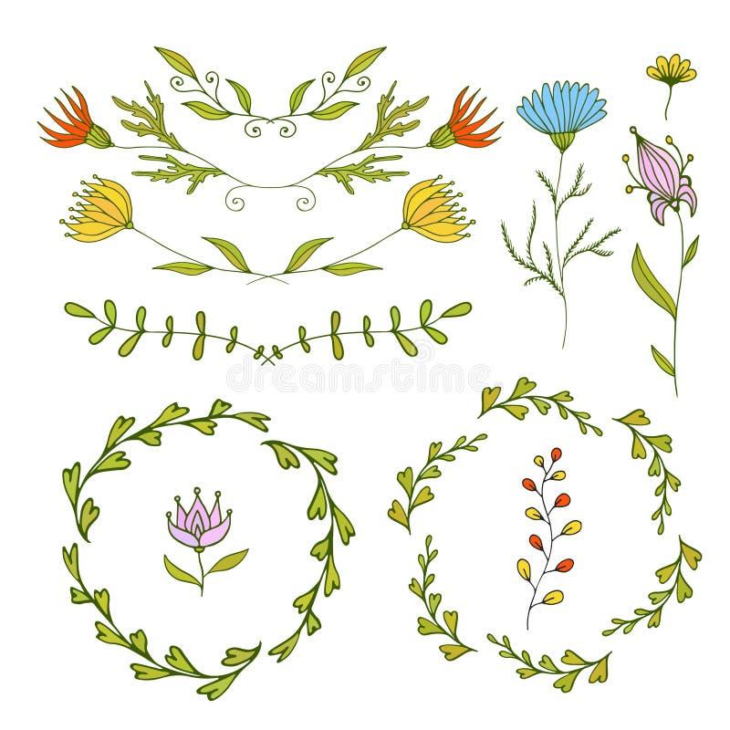 Beståndsdeluppsättning för blom- design Vårramar och gränser Dekorativa beståndsdelar för vektor Kan använda för födelsedagkort o royaltyfri illustrationer