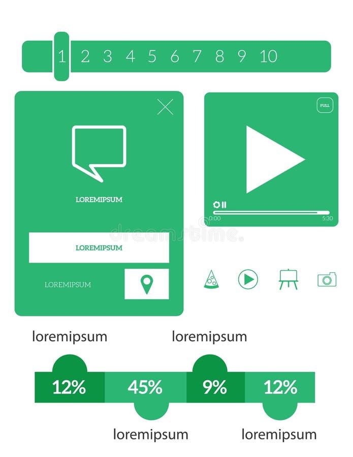 Beståndsdeluppsättning för vektor UI royaltyfri illustrationer