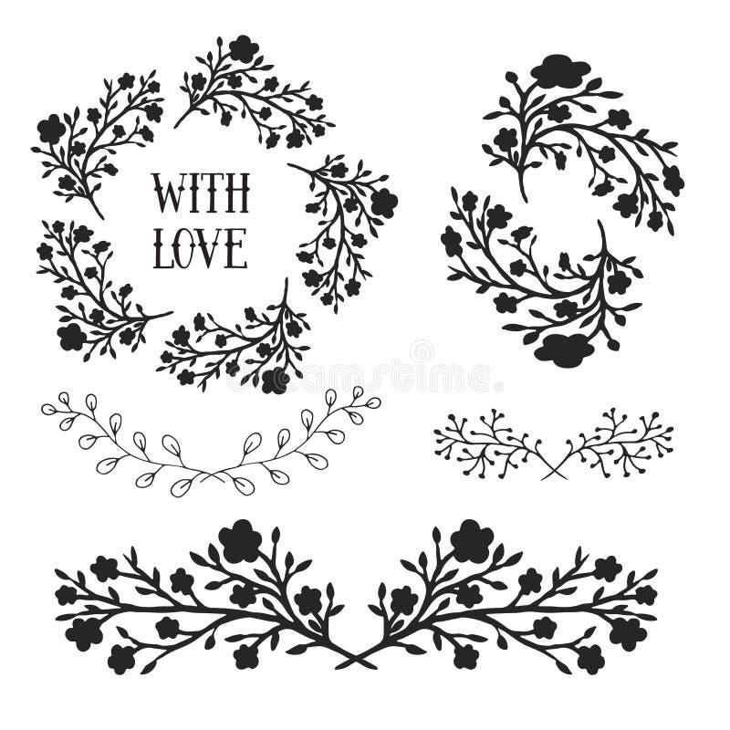 Beståndsdeluppsättningen för den blom- designen, inramar och gränsar Dekorativa beståndsdelar för vektor Kan använda för födelsed royaltyfri illustrationer