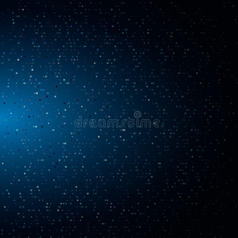 Består den abstrakta halvton exponerade glödande partiklar av för neonfärg för slumpmässiga prickar blå bakgrund Digital explosio stock illustrationer
