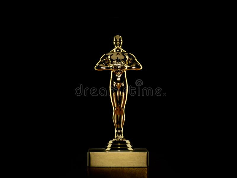 Best Actor Award. Golden award statue for entertainment industry on black with reflection royalty free stock image