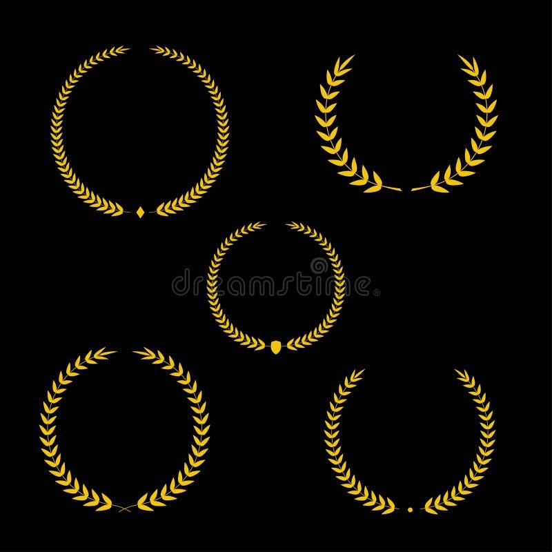 Best Award Vector Gold Award Laurel Wreath Set Winner Label Leaf