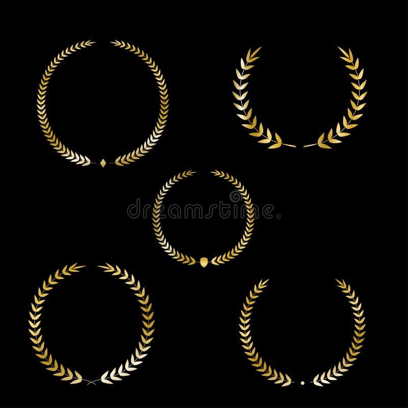 Best award Vector gold award laurel wreath set. Winner label, leaf symbol victory, triumph and success illustration. vector illustration