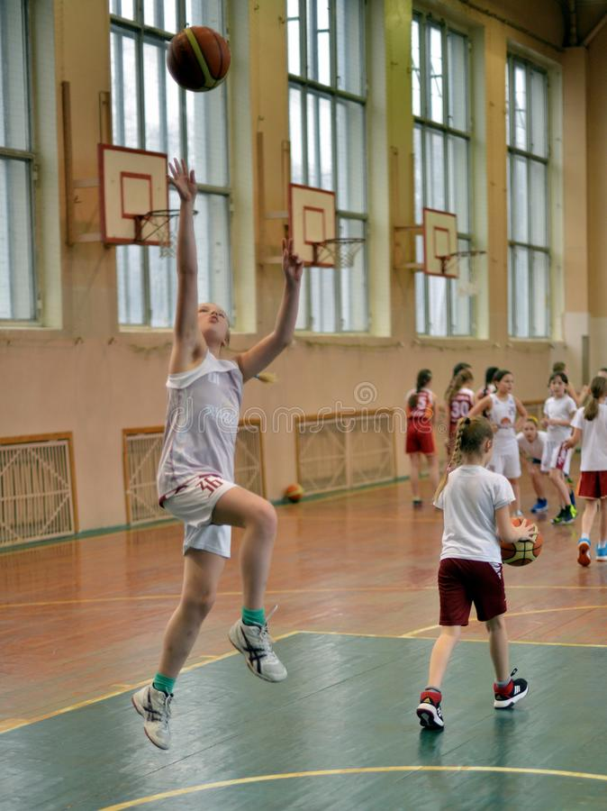 The best Basketball. Russia, Volgodonsk - June 02, 2015: Children are trained to play basketball royalty free stock photography