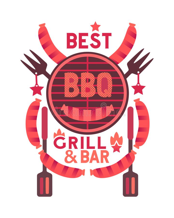 Best BBQ grill funny flat hand drawn vector color icon. Best BBQ funny flat hand drawn vector color icon. Barbecue party quirky cartoon. Grilling sausages, grill royalty free illustration