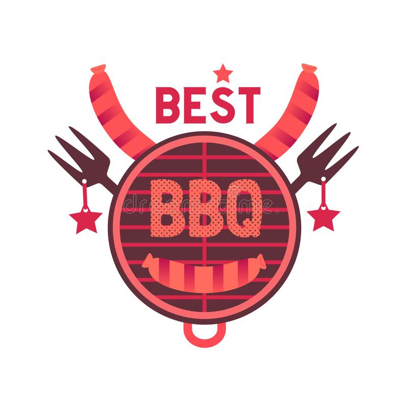 Best BBQ grill funny flat hand drawn vector color icon. Best BBQ grill funny flat hand drawn vector icon. Barbecue sticker quirky cartoon. Cow head shape royalty free illustration