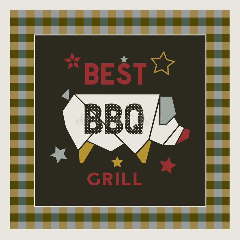Best BBQ grill retro style hand drawn cartoon poster. Best BBQ grill icon. Hand drawn cartoon retro style poster. Barbecue grilled pork emblem. Roasted grilling stock illustration