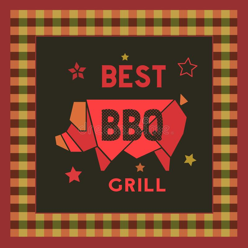 Best BBQ grill retro style hand drawn cartoon poster. Best BBQ grill icon. Hand drawn cartoon retro style poster. Barbecue grilled pork emblem. Roasted grilling royalty free illustration