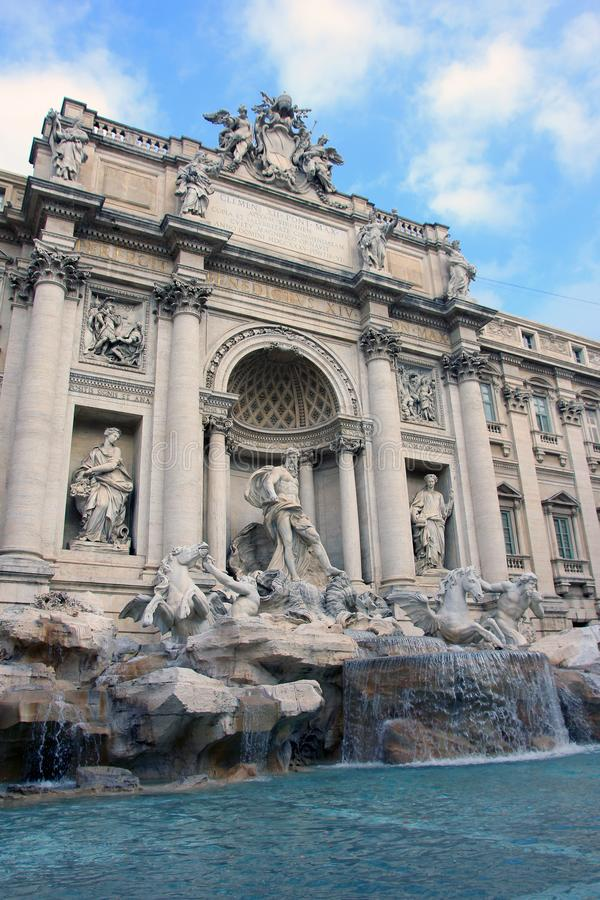Best beautiful italian Trevi Fountain in Rome in Italy with stone marble statues and sculptures. Best beautiful Trevi Fountain in Rome in Italy with stone marble stock photos