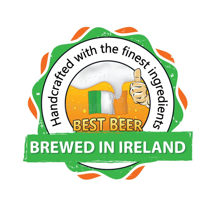 Best beer, brewed in Ireland stamp for print. Best beer, brewed in Ireland, Handcrafted with the finest ingredients - business stamp for catering, pubs royalty free illustration