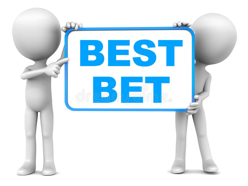 Best bet. Word with two little men holding the banner royalty free illustration