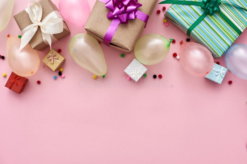 Best birthday party! Colorful balloons, gift boxes and confetti royalty free stock images